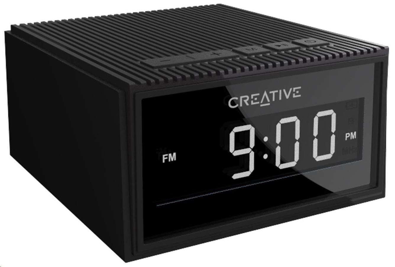 Creative Chrono bezdrátový přenosný reproduktor s budíkem a rádiem - černý