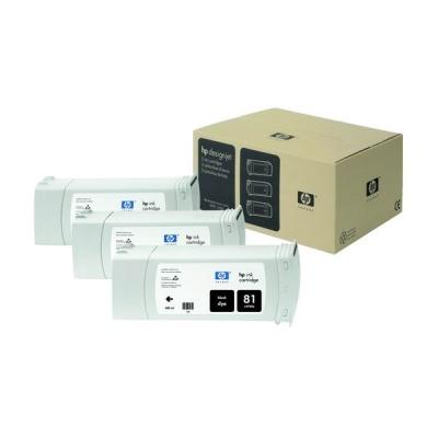 HP 81 Black DJ Ink Cart, 680 ml, 3-pack, C5066A