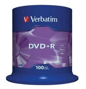 VERBATIM DVD+R(100-Pack)Spindle/General Retail/16x/4.7GB