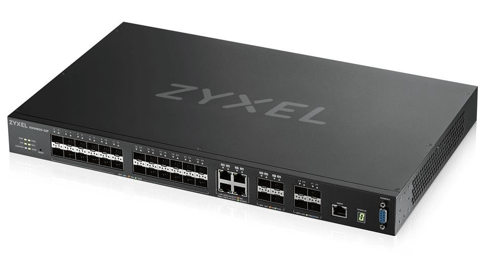 Zyxel XGS4600-32F L3 Managed Switch, 24x SFP, 4x RJ45/SFP, 4x 10G SFP+, stackable, dual PSU
