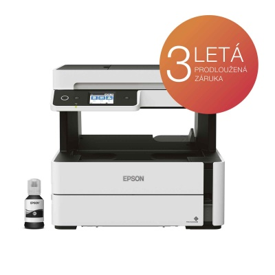 EPSON tiskárna ink EcoTank Mono M3180, 4v1, A4, 39ppm, Ethernet, Wi-Fi (Direct), Duplex, LCD, ADF, 3 roky záruka po reg.