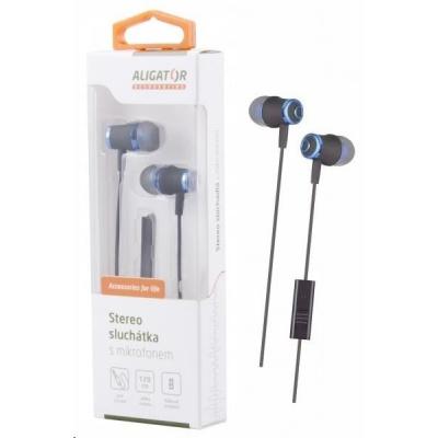 Aligator stereo sluchátka AE02 s mikrofonem, 3,5 mm jack, modrá