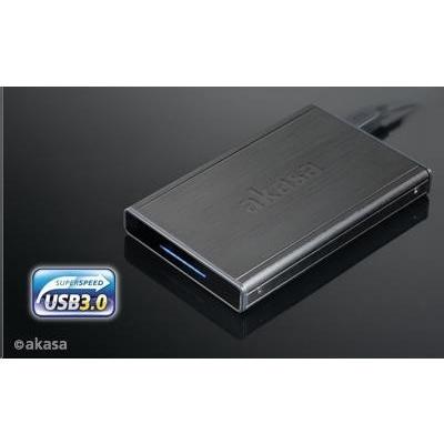 """AKASA HDD box  Noir S, 1x 2,5"""" SATA HDD/SSD, USB 3.0, broušený černý hliník"""