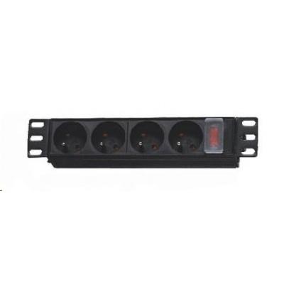 """10"""" rozvodný panel 4x230V, indikátor napětí / vypínač, 1.8m přívod."""