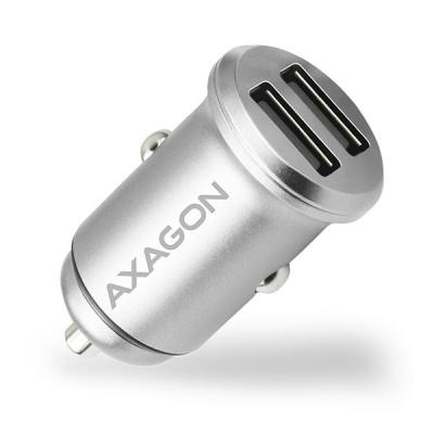 AXAGON PWC-5V4, mini SMART nabíječka do auta, 2x port 5V-2.4A + 2.4A, 24W