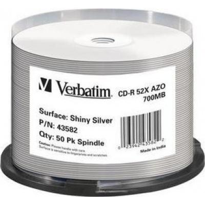VERBATIM CD-R(50-Pack)Spindle/Shiny/ Silver AZO 52x/700MB