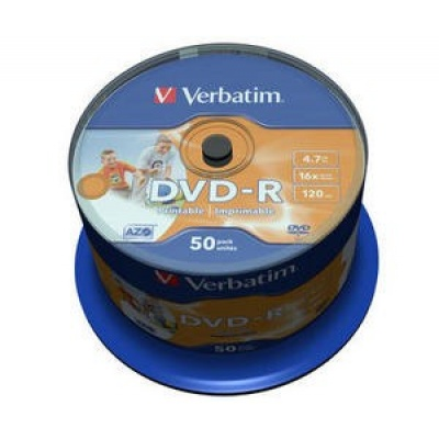VERBATIM DVD-R(50-Pack)Spindle/Inkjet Printable Wide/16x/4.7GB