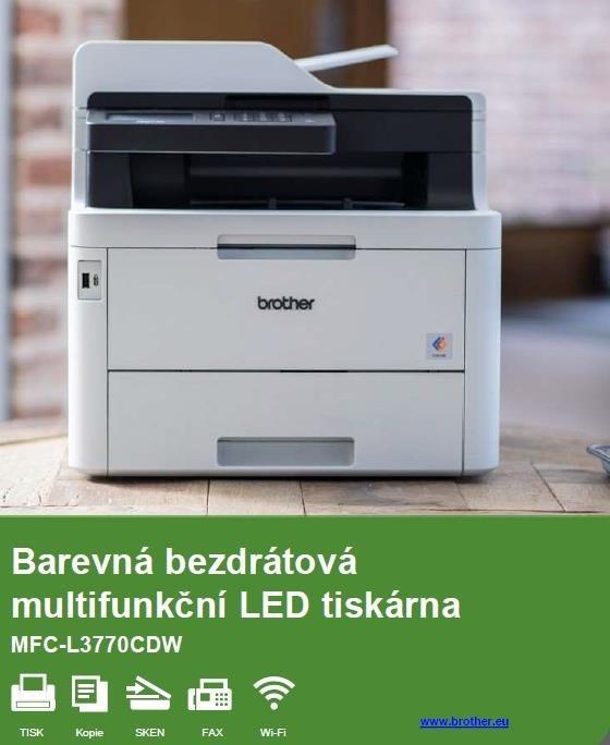 BROTHER multifunkce color LED MFC-L3770CDW - A4, DUALSKEN, 24ppm, 512MB, USB2.0, 250listů, ADF50, WIFI, DUPLEX