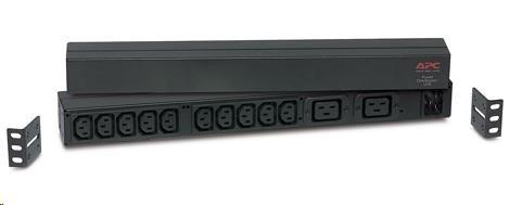 APC Rack PDU, Basic, 1U, 16A, 208&230V, (10)C13 & (2)C19, IEC-320 C20 2.5m