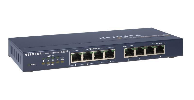 Netgear FS108P ProSafe 8x 10/100 Unmanaged Desktop Switch, 4 porty jsou PoE