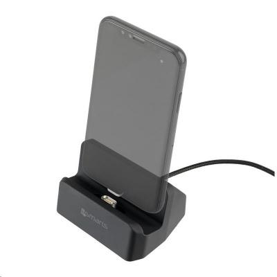 4smarts magnetická nabíjecí stanice GRAVITYDock, 2,1 A, konektory Lightning a micro USB, šedá
