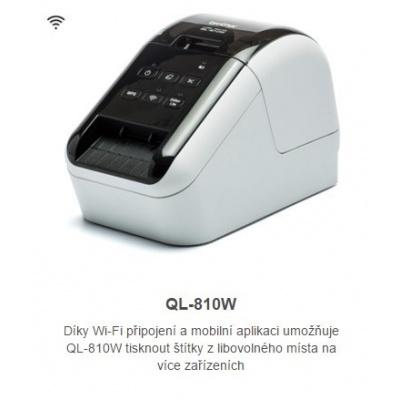 BROTHER tiskárna štítků QL-810W - 62mm, termotisk, WIFI, Profi Tiskárna Štítků / po dokoupení DK-22251 tisk červeně /