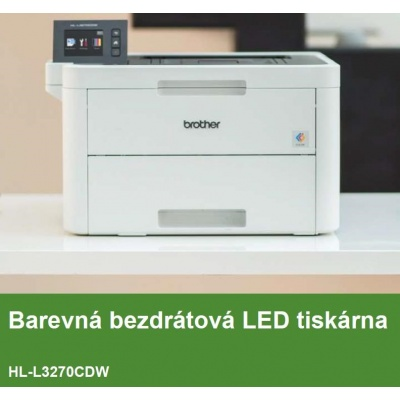 BROTHER tiskárna color LED HL-L3270CDW - A4, 24ppm, 2400x600, 256MB, USB 2.0, WiFi, 250listů, display 6,8cm touch DUPLEX