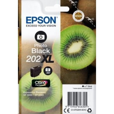 "EPSON ink čer Singlepack ""Kiwi"" Photo Black 202XL Claria Premium Ink 7,9 ml"