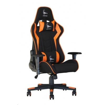 GEMBIRD Gaming chair / herní křeslo SCORPION 04, černá sítovina, oranžová kůže