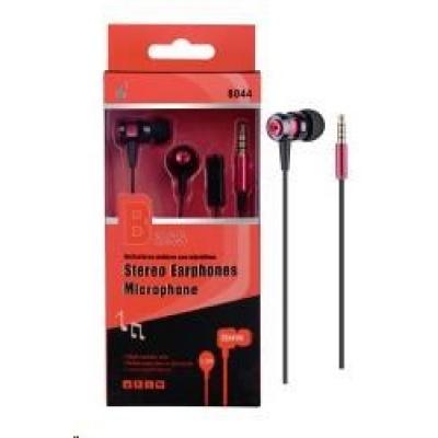PLUS stereo sluchátka s mikrofonem N8044, 3,5 mm jack, červená