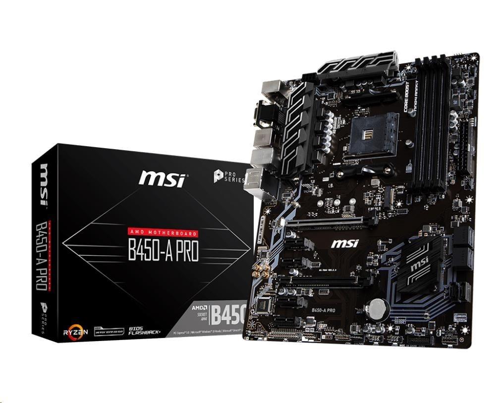 MSI MB Sc AM4 B450-A PRO, AMD B450, VGA, 4xDDR4